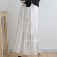 Spring Summer Solid Blue White Cake Layered Skirts Sweet Ruffles Chiffon Pleated Long Skirts High Waist A Line Skirts