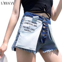 LXUNYI 2018 New Summer High Waist Denim Shorts Women Single Breasted Tassel Ladies Jeans Shorts Buttons Reverse Wear Wide Leg