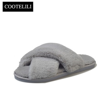 Winter Women Home Slippers with Faux Fur Comfy Warm Slip-on Flat Shoe 1