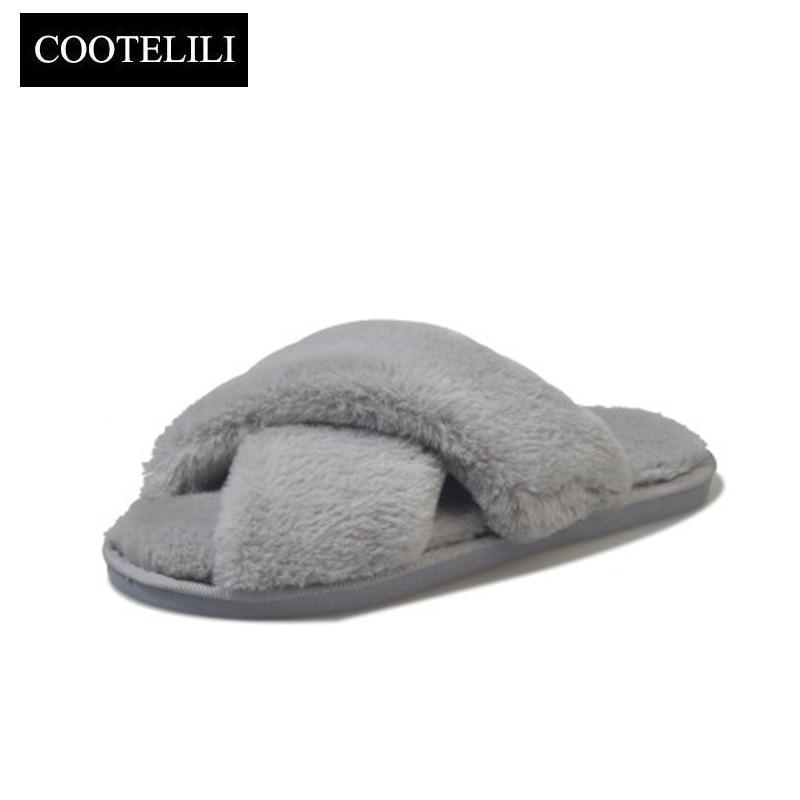COOTELILI Winter Frauen Hause Hausschuhe mit Kunstpelz Mode Warme Schuhe frau Beleg auf Wohnungen Weibliche Slides Schwarz Rosa Plus Größe 41