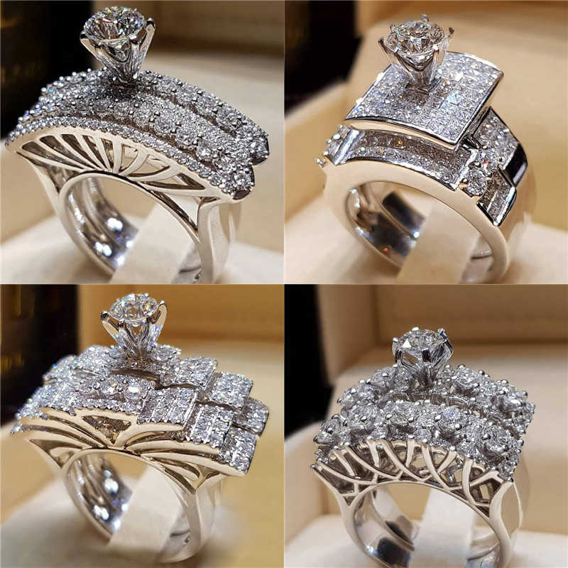 Modyle Brand Female CZ Stone Round Ring Set Fashion White Gold Filled Jewelry Promise Engagement Rings For Women