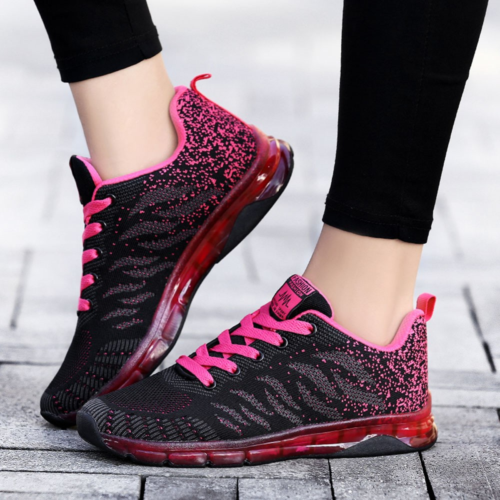 À Sport Tissé Nouveau Chaussures Mode Lacets Baskets De Rose rose pourpre Étudiant Rouge Volant Femmes Coussin D'air Net 2018 OXqREwq