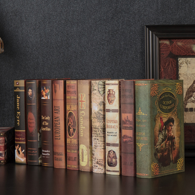 10cs Old Vintage Decor Fake Book Decoration Simulation Room Hotel Cafe Shelf Bookcase Props