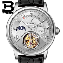 Switzerland BINGER Watches Men Luxury Seagull Automatic Movemt Watch Male Tourbillon Sapphire Alligator Hide Mechanical 80801-1