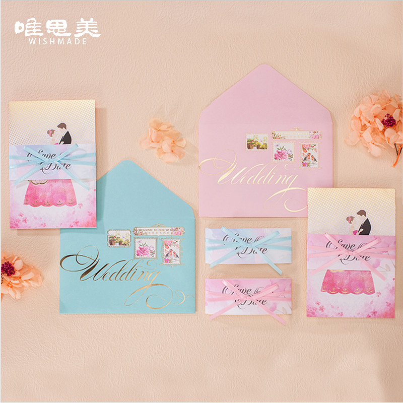 Wishmade Personality Luxury Blue/Pink Ribbon Wedding Invitations Elegant Groom&Bride Invitation Cards with Envelopes CW7507 1 design laser cut white elegant pattern west cowboy style vintage wedding invitations card kit blank paper printing invitation