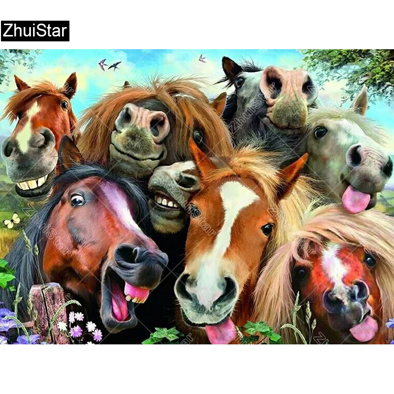 5D Full Diamond Painting Animal happy colorful Horses Diamond Mosaic Embroidery Cross Stitch Handmade Crafts Home Decoration XSH