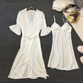 Mini Length Sexy Women's Robe Set Free Shipping 2017 Summer Half-Sleeve Female Nightwear Bathrobe + Gown Two Pieces Lingerie Set