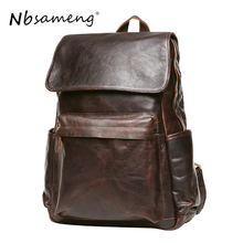 NBSAMENG 100% Genuine Leather Backpack Cowhide Man Shoulder Backpack School Bag Mochila Casual First Layer Leather Backpack