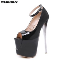 TINGHON Sexy Buckle Pumps Wedding Women Fetish Shoes Concise Woman Pumps Very High Heel Stripper Club Women Pumps 18 CM