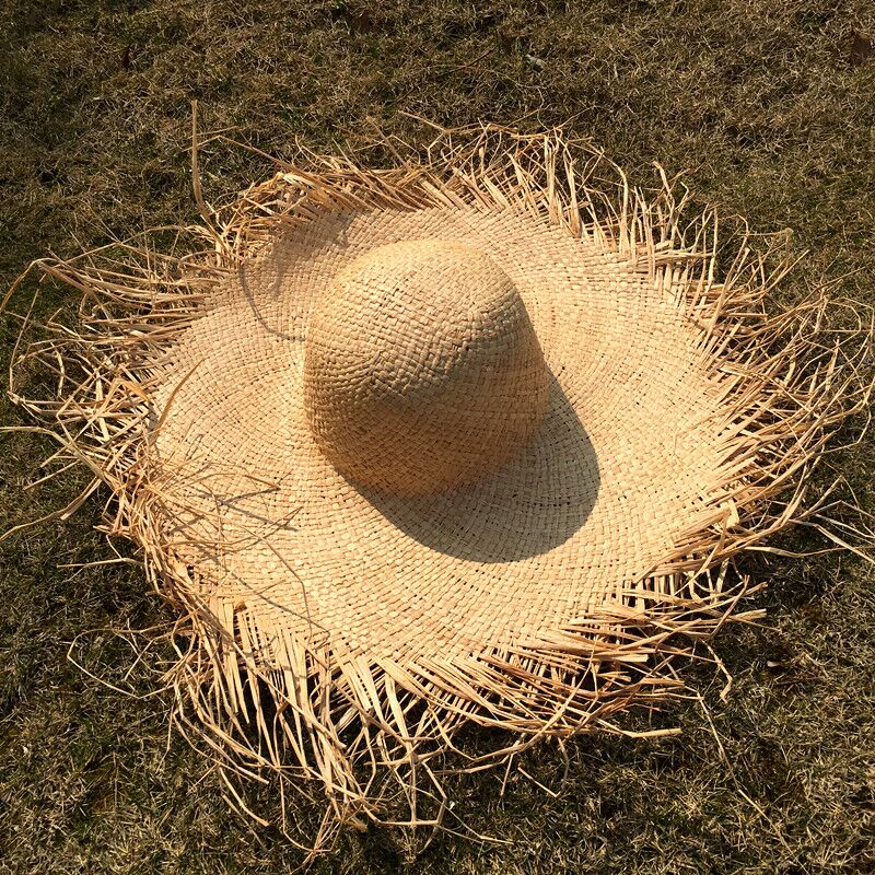 MAERSHEI Handmade Weave 100% Raffia Sun Hats For Women  Large Brim Straw Hat Outdoor Beach Summer Caps Chapeu Feminino