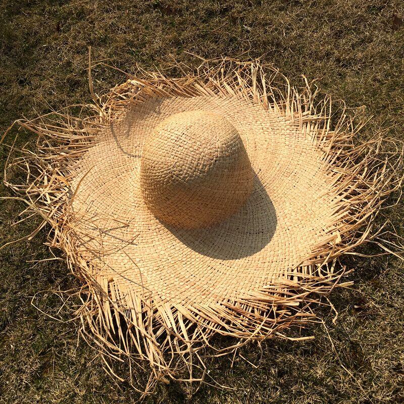 MAERSHEI Handmade Weave 100% Raffia Sun Hats For Women  Large Brim Straw Hat Outdoor Beach Summer Caps Chapeu Feminino