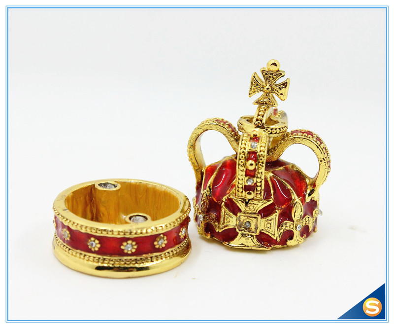 Free Shipping Cross Crown Trinket Box Ring Jewelry Box Ring - Home Decor - Photo 4