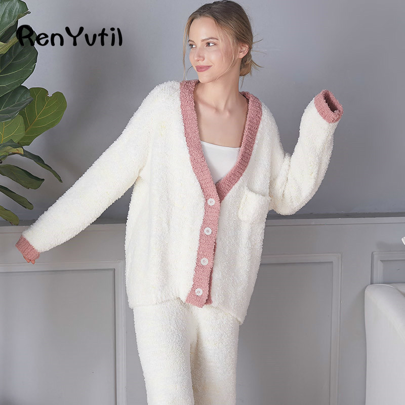 Super Soft Women s Flannel Thermal Sleepwear Pj Pajamas Set Autumn Winter Cardigan Long Sleeve Pant