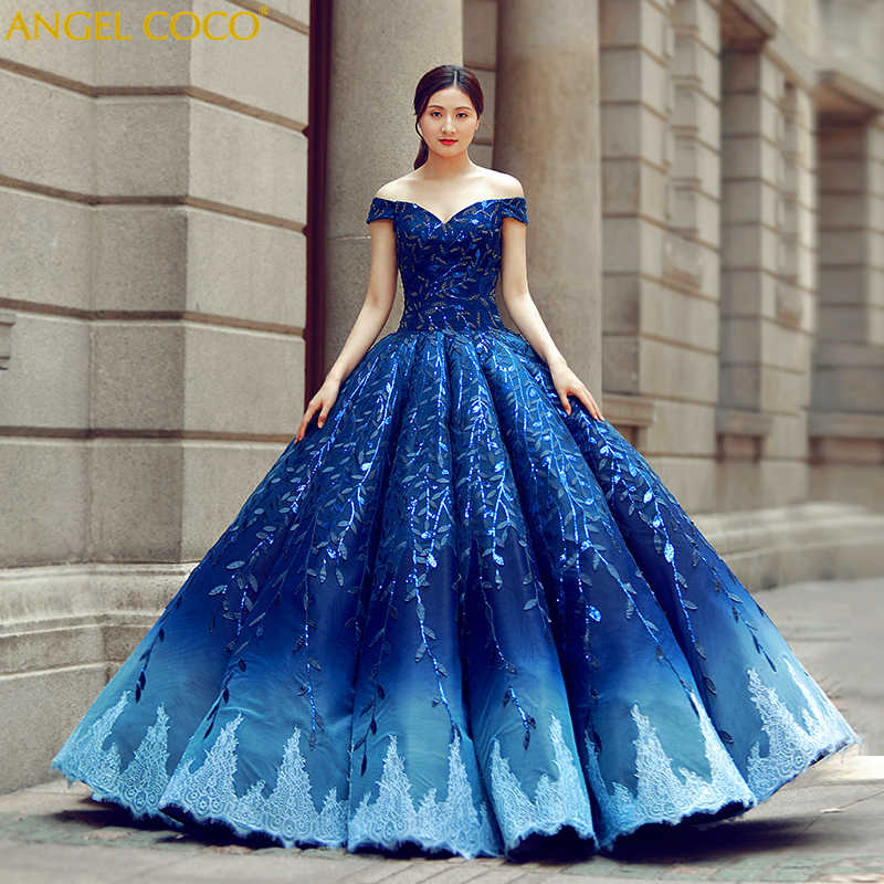 Luxury Pregnant Bride Bling Bling Robe De Soiree Gorgeous Royal Blue Pregnancy  Maternity Wedding Dress Evening 20af9fecc115