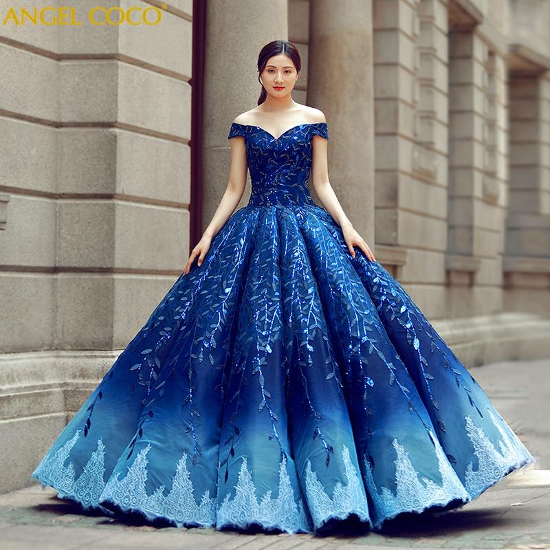 Luxury Pregnant Bride Bling Bling Robe De Soiree Gorgeous Royal Blue Pregnancy Maternity Wedding Dress Evening Gown Dubai Abaya