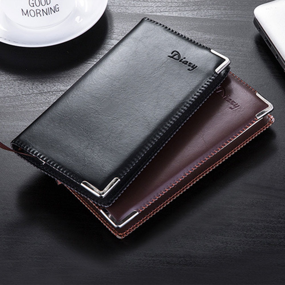 DELVTCH A6 90 Sheets PU Leather Journals Planner Organizer Notebook Diary Notes Memo Pads Business Office School Supplies Gift a6 small business notebook retro style leather notebook office learning notes notebook comes with a pen