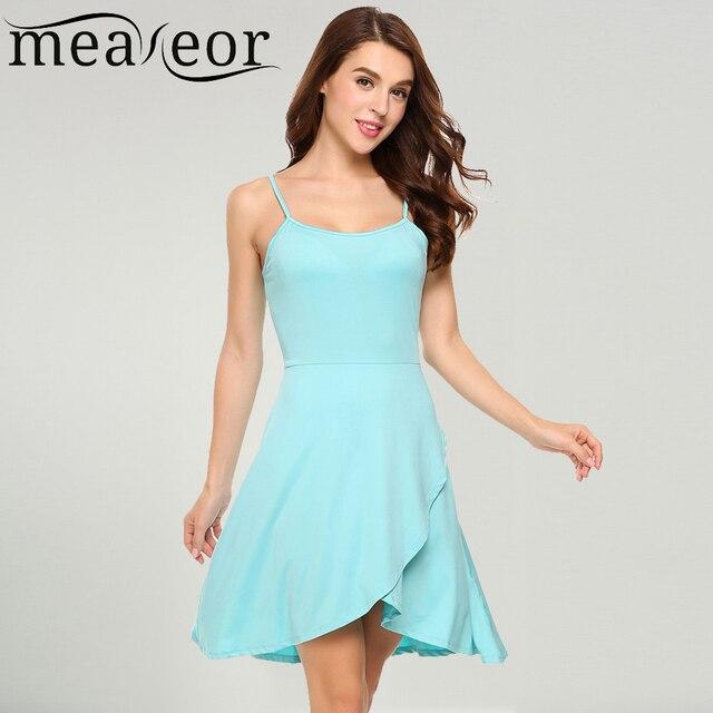a147243d5f1 Meaneor Women Spaghetti Strap Asymmetrical Mini Dress Summer Plus Size 3XL  XXXL Sleeveless Faux Wrap High Waist Sold Dresses
