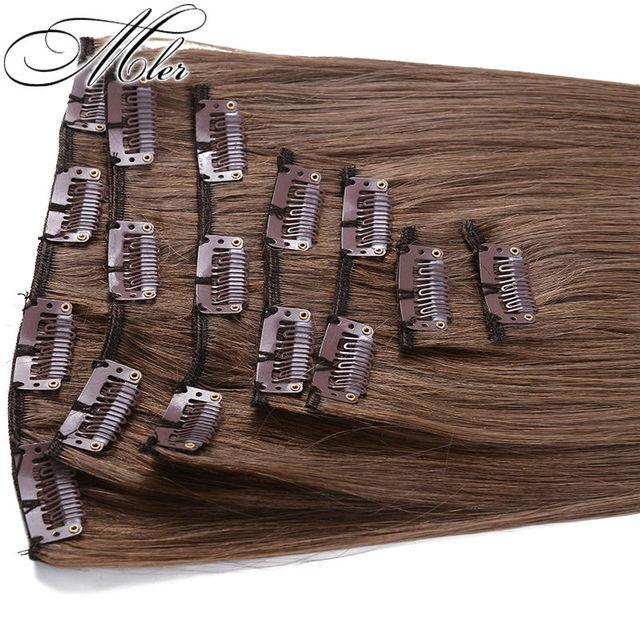 6A grau clipe em extensões do cabelo reto indiano do cabelo humano Weave 7 PCS 70 g não transformados # 6 virgem extensão do cabelo venda quente