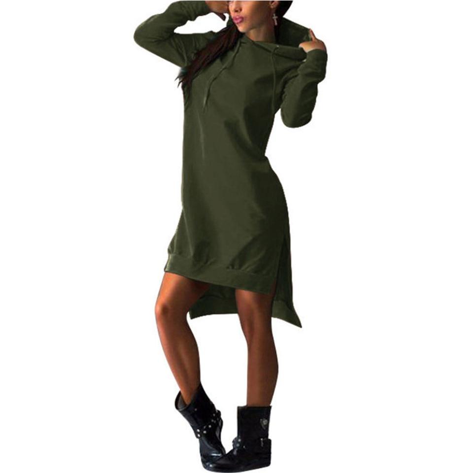 Women Slim Hoodie Dress 2019 Autumn Winter Long Sleeve Casual Dress Hooded Pockets Sportwear Female Fashion Women Slim Hoodie Dress 2019 Autumn Winter Long Sleeve Casual Dress Hooded Pockets Sportwear Female Fashion Women Clothing