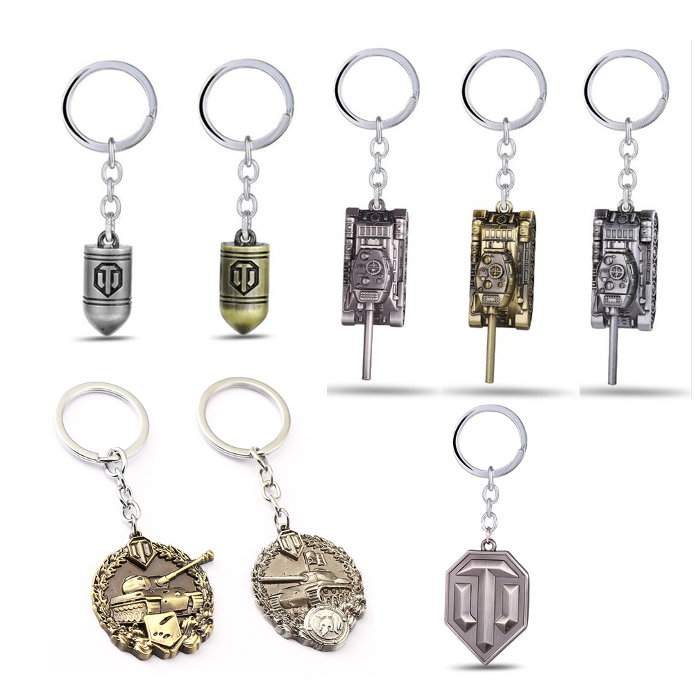 HSIC Game Jewelry World Of Tanks Keychain WOT Metal Bullet Tank Badge Key Ring Pendant Car Bag Chaveiro Men Jewelry Llaveros