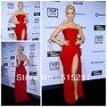 Elegante Chiffon alta fenda celebridade vestidos no tapete vermelho Formal de vestidos de 2014 nova chegada