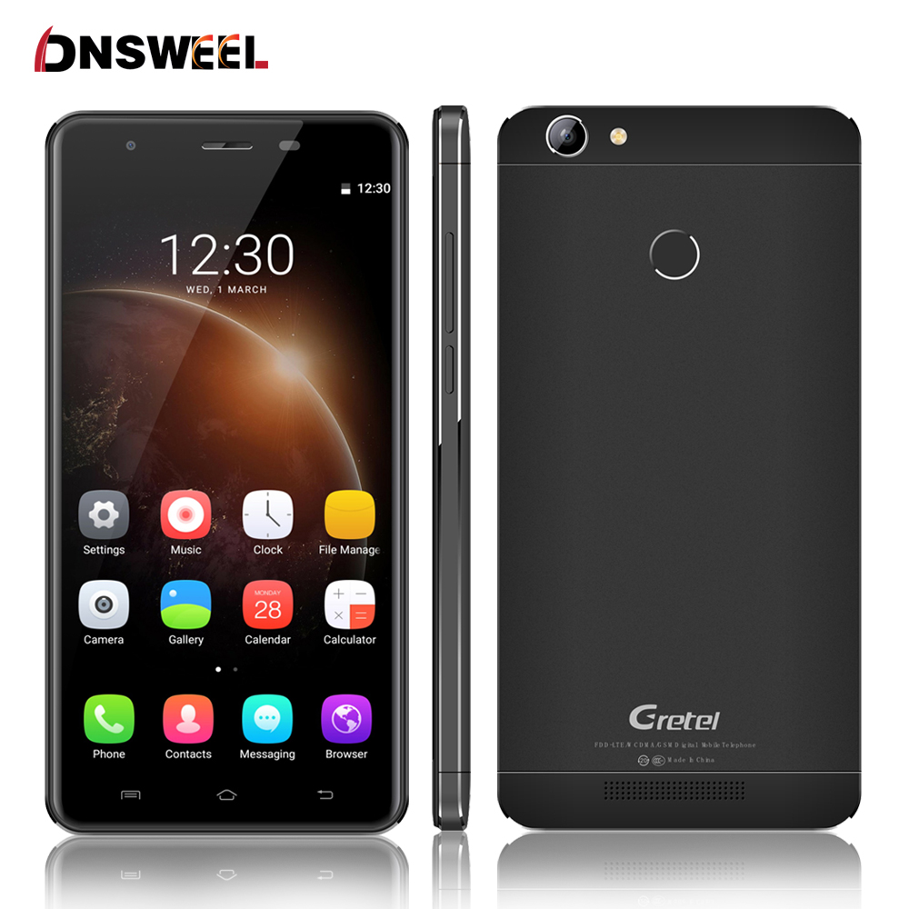 "Gretel A6 Smartphone 4G 5.5"" Android 6.0 MT6737 Quad Core 2GB RAM 16GB ROM 13MP Fingerprint 3000mAh Mobile phone"
