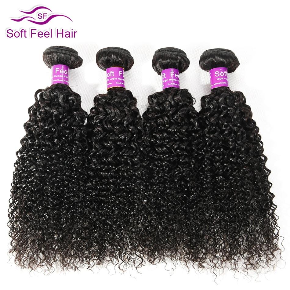 Mjukt Feel Hair 1/3 / 4PCS Kinky Curly Hair Bundles Brazilian Hair - Mänskligt hår (svart) - Foto 3
