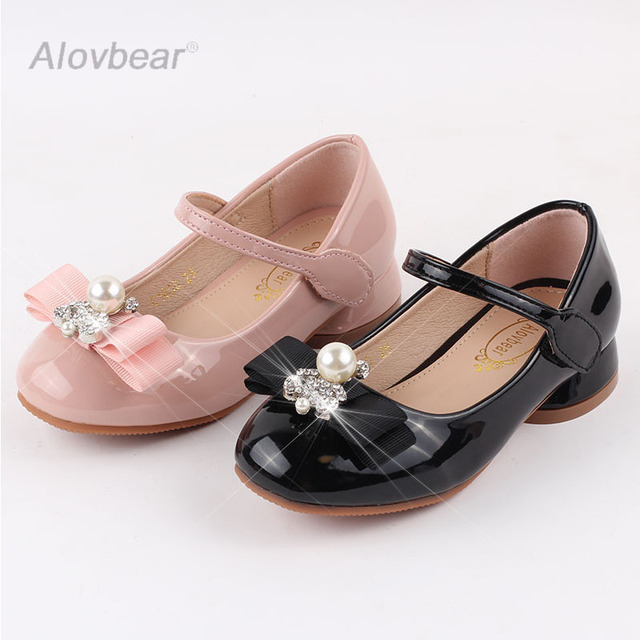 Size 26-36 Children Shoes for Girls Princess Party Leather Shoes Flower Girl  Rhinestones Shoes Kids Bowtie Dress Shoes C1800-180 a4f36737fa08