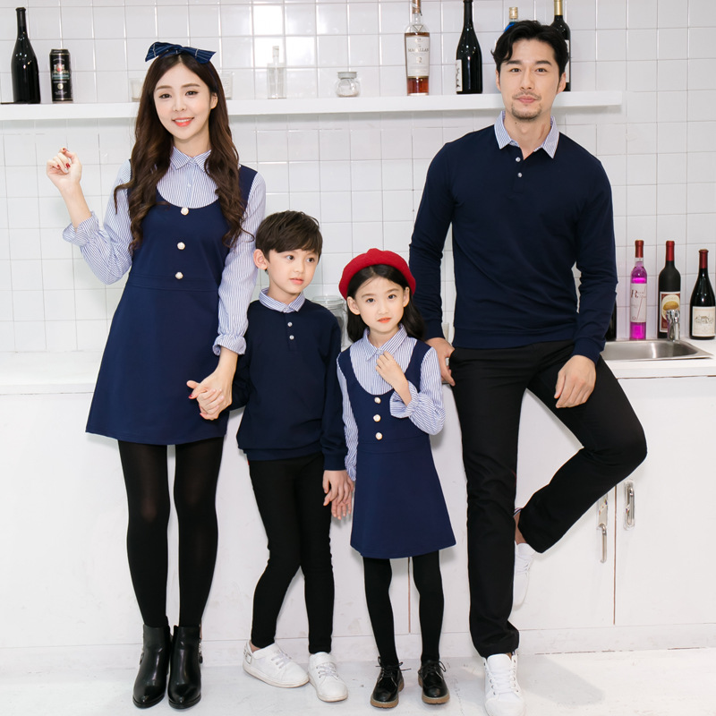 Family Matching Outfits Spring Autumn Mom And Daughter Fake Two-piece Dress Dad Son Sweaters Tshirt Children Long Shirts