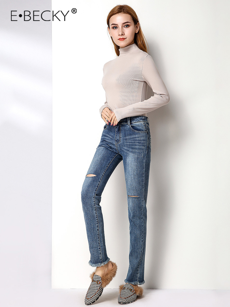 E.BECKY Mid Ripped Jeans for Women Mid waist Skinny Blue Jeans Office Lady Vintage Tassel Pencil Pants Leg Mom Jeans Femme 2019