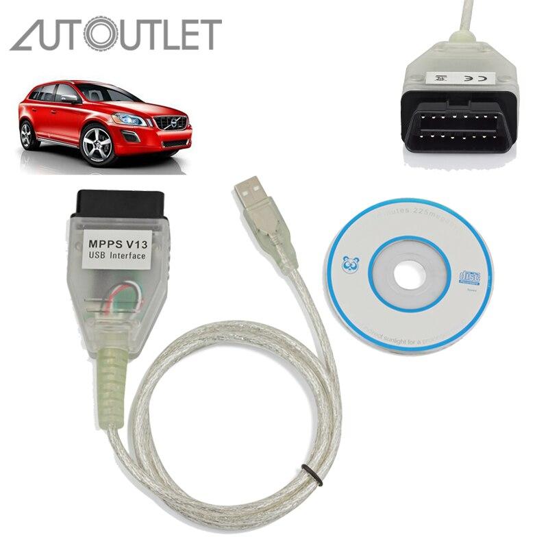 AUTOUTLET fpr MPPS V13.02 Interface VAG USB Kabel OBDII OBD2 Für AUDI BMW Citroen Ecu Flasher Professionelle Auto Diagnose Kabel
