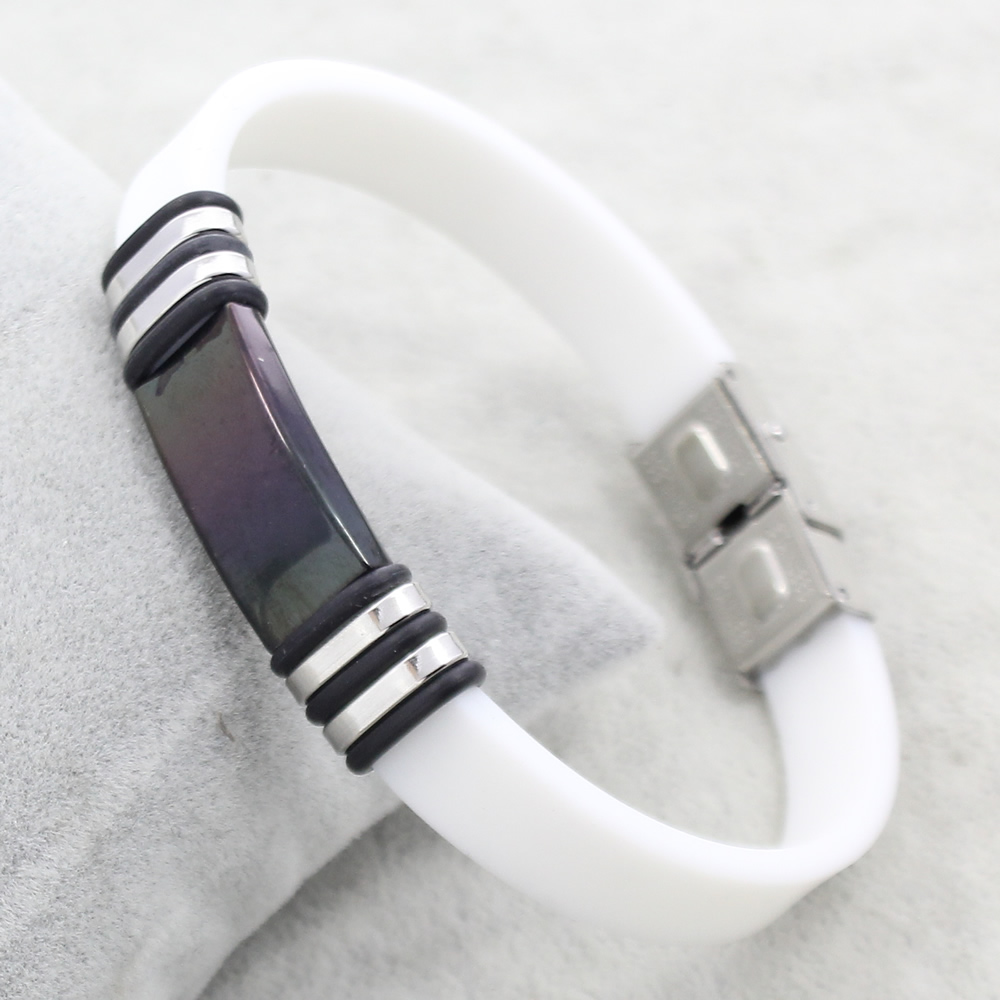 YYW Stainless Steel Jewelry Bracelet,for Jewelry, with Silicone, plated, 43x13x4mm, Sold Per Approx 7.5 Inch Strand