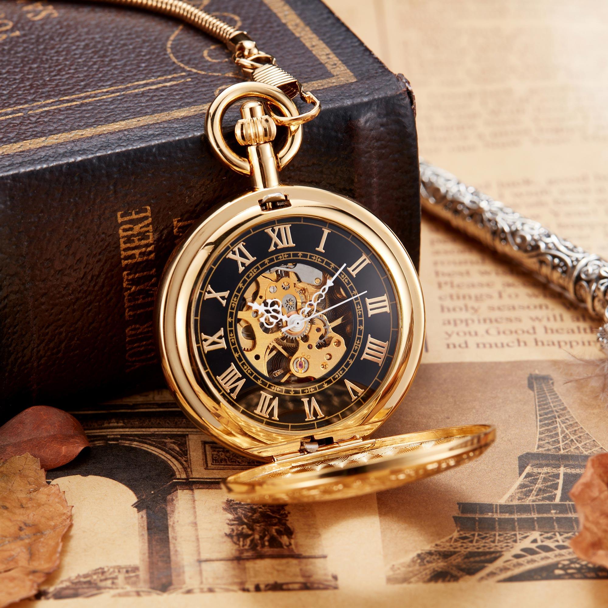Montre de poche mécanique en or de luxe Vintage cuivre mâle horloge main vent carré collier montre chaîne pour hommes femmes cadeau
