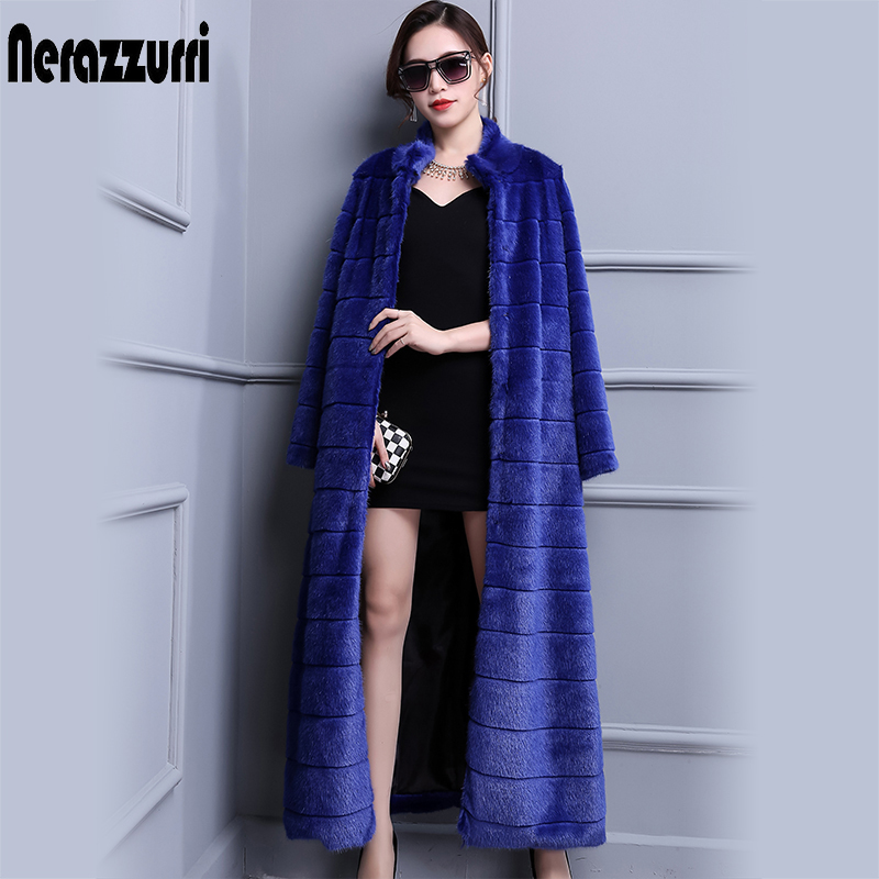 Nerazzurri Extra Long Duster Faux Fur Coat Blue Warm Luxury Fashion 2019 Runway Plus Size Winter