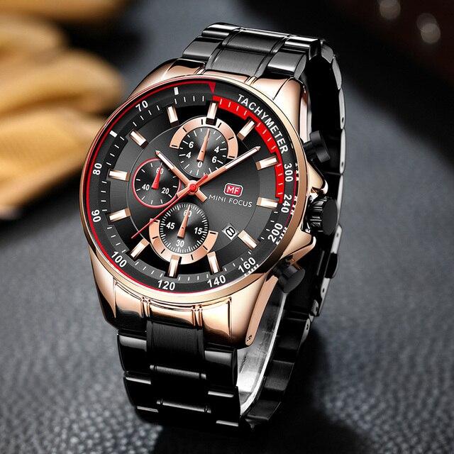 MINI FOKUS herren Wasserdichte Business Uhren Chronograph Quarz Leuchtende Armbanduhr für Mann Edelstahl Band Schwarz MFS0218