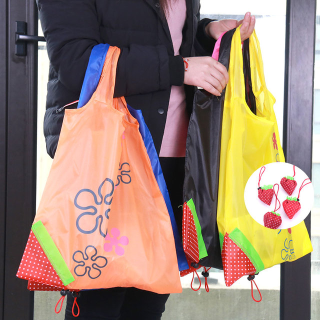 071cb3f076 US $0.4 9% OFF|1PC Strawberry Foldable Shopping Bags Creative Environmental  Storage Bag Handbag Reusable Folding Grocery Nylon Large Bag-in Shopping ...