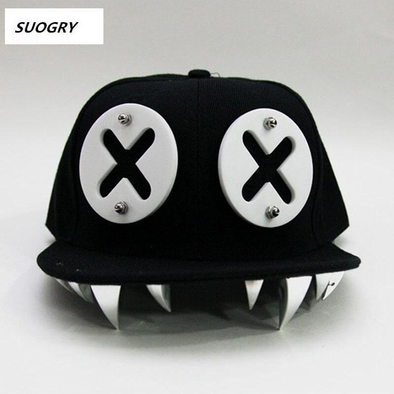 Punk Hip Hop   Caps   Devil Monster Dental Acrylic Bone Snapback Hats Rivet   Baseball     Cap   Ockstar For Men And Women Bone Aba Reta
