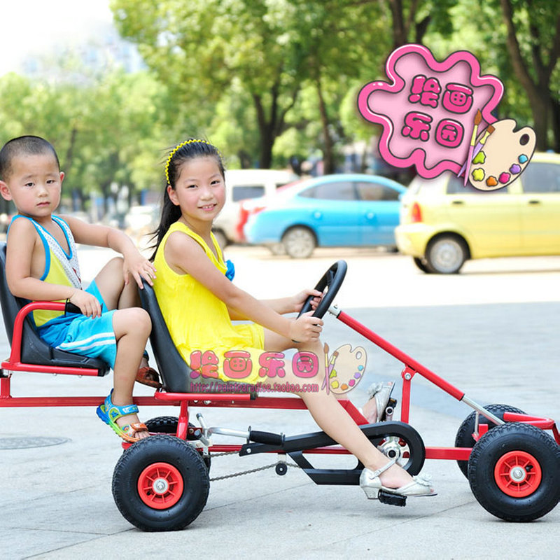 twins go karts, thicken steel frame kids karts with hand brake, two chilren karting