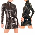 Black Zipper Faux Leather High Collar Full Sleeve PVC Women Mini Dress Bodycon Party Dresses Vestidos Outfits Clubwear Costume