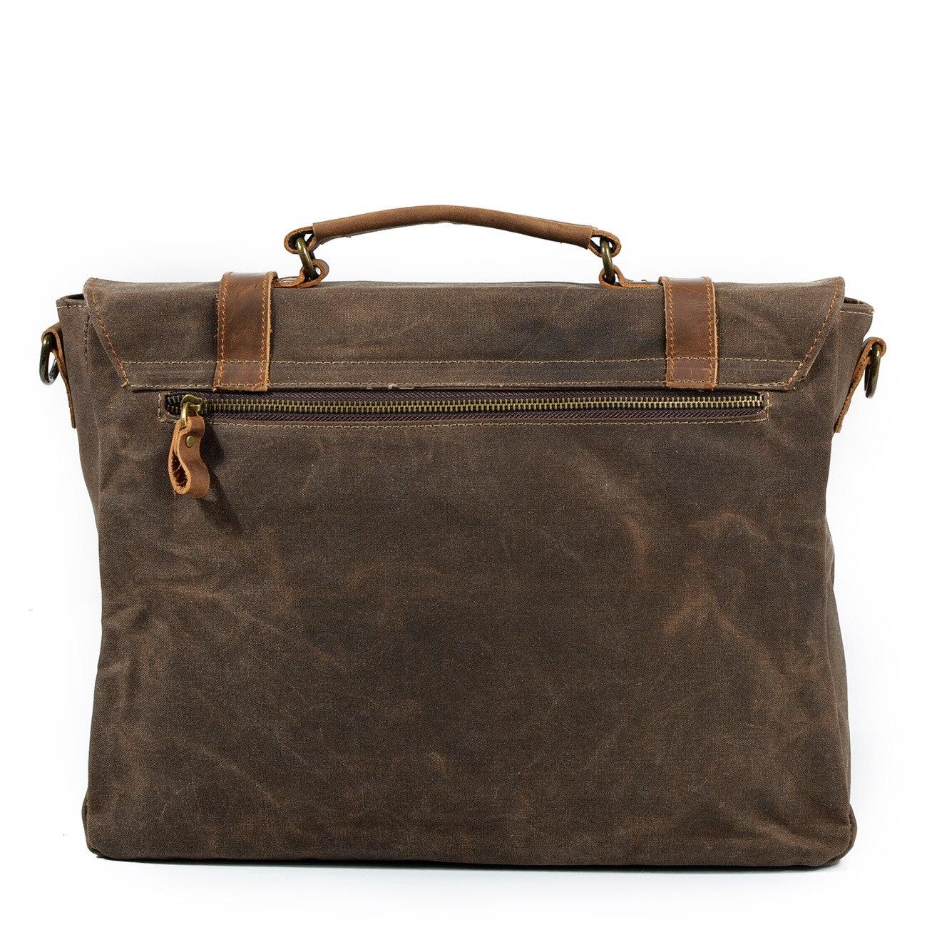 2018 rétro hommes porte-documents ordinateur portable affaires Messenger épaule sac à bandoulière en cuir véritable toile Document de voyage sac pratique - 3
