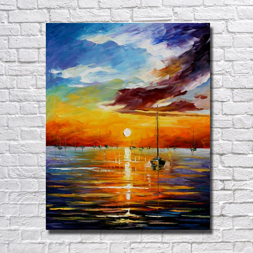 1Peices Hand Painted Beautiful Sunrise Landscape Living Room Wall ...