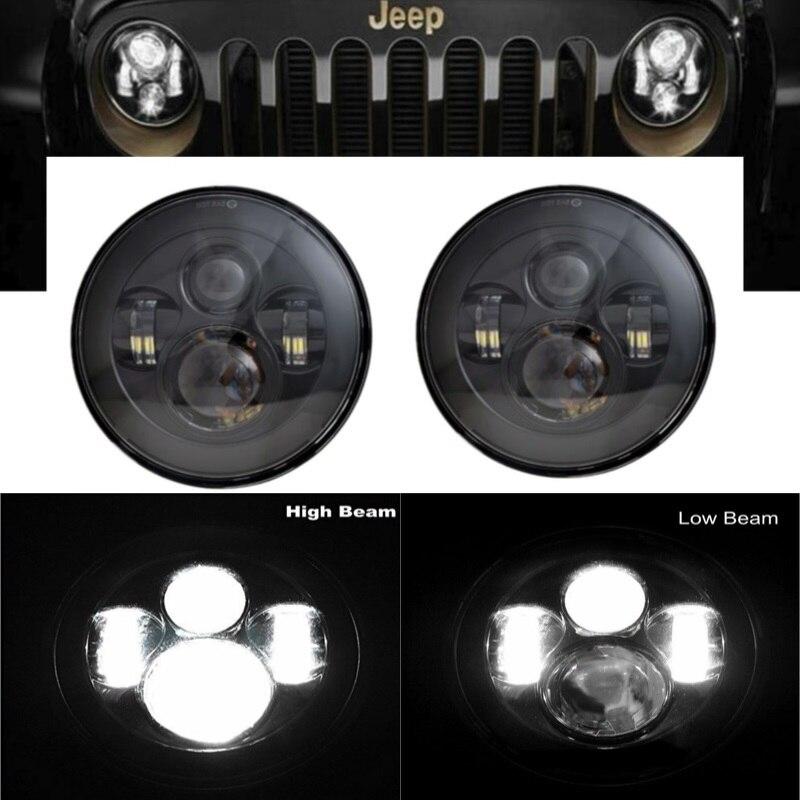 Pour Jeep Wrangler JK TJ LJ CJ Ford Toyota Dodge Land Rover Hummer H1 & H2 2 pièces 40 W phare LED rond 6000 K avec faisceau Hi-Lo