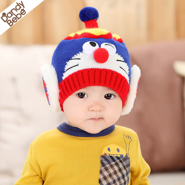 3310d8f382a DANDYBEBE 2015 autumn winter Doraemon toddler baby warm Machine cat cartoon knitting  hat infant cap boys