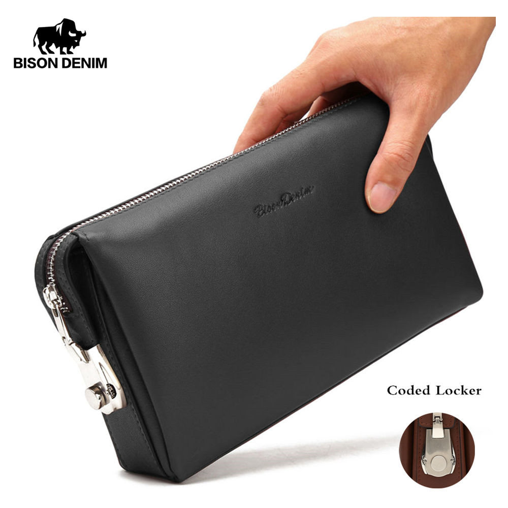 BISON DENIM Genuine Leather Men Clutch Wallets Fashion Zipper Male Wallet Men Purse Long Phone Wallet Men's Clutch Bag N8015-2B fashion clutch genuine leather men wallets with wristlet zipper long male wallet crocodile pattern men purse man s clutch bags