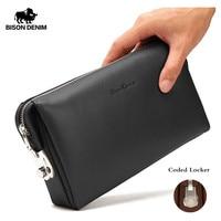 BISON DENIM Genuine Leather Men Clutch Wallets Fashion Zipper Male Wallet Men Purse Long Phone Wallet Men's Clutch Bag N8015 2B
