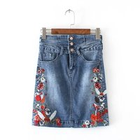2017 New Fashion Woman Blue Denim Skirt With Flowers Embroidered Empire Waist Single Breasted Buttons Multi-Pockets Short Skirts