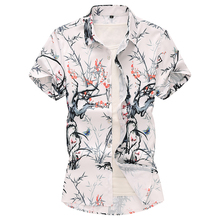 Plant Flowers Hawaiian Shirt Bamboo Mens dress Shirts Plus size Blouse Men Short sleeve Summer New 6XL 7XL