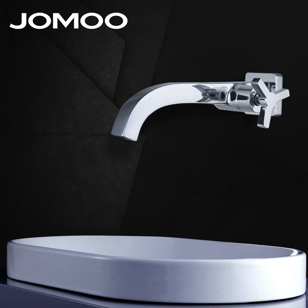 JOMOO Wall Mounted Waterfall Bathroom Faucet Single Handle Single Cold Water Chrome Finish Brass Spout Vanity Sink Mixer Tap chrome finished bathroom sink tub faucet single handle waterfall spout mixer tap solid brass