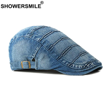 SHOWERSMILE Denim Flat Cap Men Vintage Striped Duckbill Hat Blue Cotton Driving Adjustable Casual Ivy Male Summer Cabbie