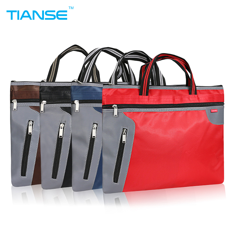 TIANSE Commercial Business Document Bag A4 Tote file folder Filing Meeting Bags Pocket office bag Side Zipper protable canvas high capacity business document bag briefcase a4 file folder filing bag meeting bag handle zipper pocket organizer case 4 colors